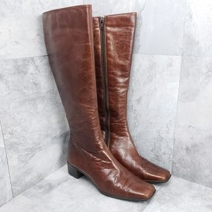 Sesto Meucci Brown Leather Tall Boots